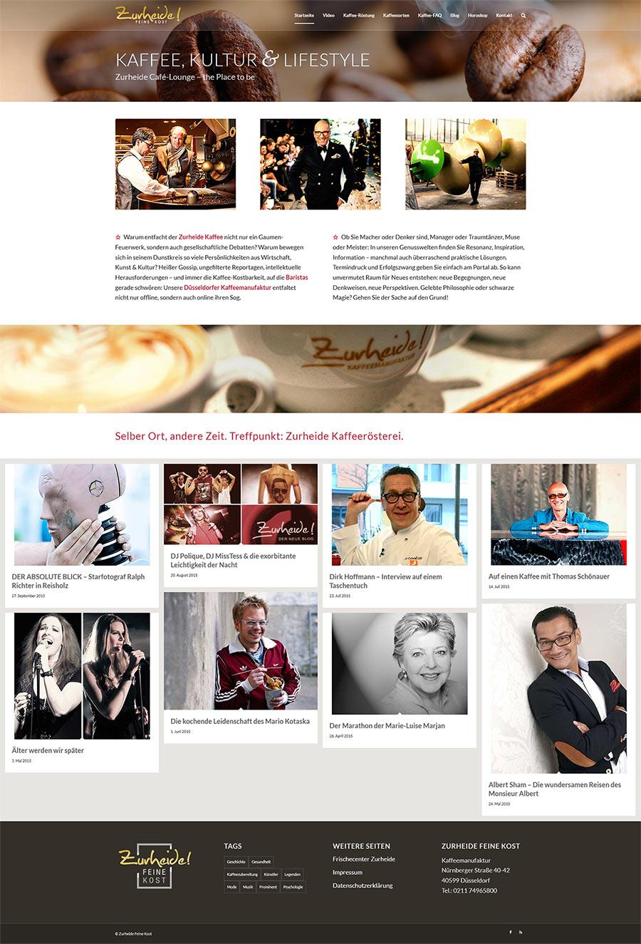 Screenshot: Website Zurheide Kaffee-Manufaktur Düsseldorf